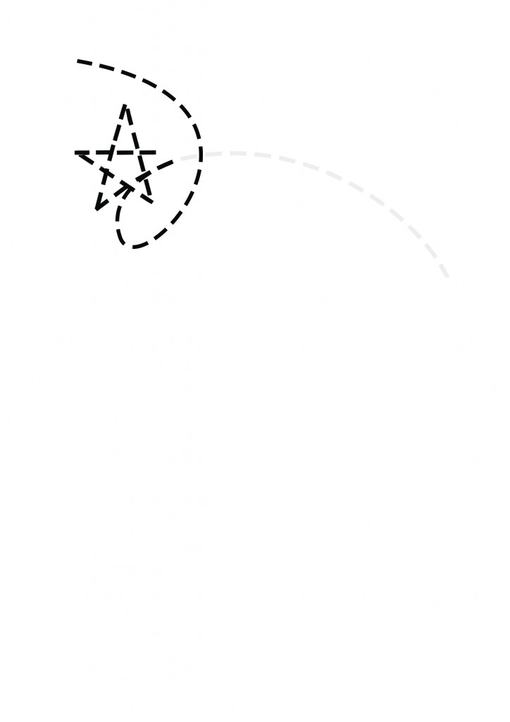 2 way path to a star.continuous linework
